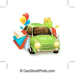Shopping tour on car