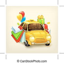 Shopping tour on taxi