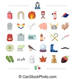 shopping, traveling, cooking and other web icon in cartoon style. finance, sports, education icons in set collection.