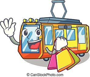 shopping, treno elettrico, isolato, con, il, cartone animato