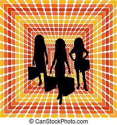 Shopping trip - Female shoppers on retro background