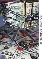 shopping trolley full dollar bill, greenback