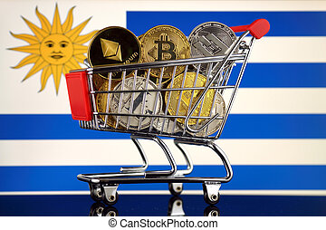 Shopping Trolley full of physical version of Cryptocurrencies (Bitcoin, Litecoin, Dash, Ethereum) and Uruguay Flag.
