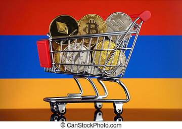Shopping Trolley full of physical version of Cryptocurrencies (Bitcoin, Litecoin, Dash, Ethereum) and Armenia Flag.