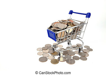 Shopping trolley or Shopping cart full of coins money isolated on white background,Finance and money concept with mini shopping trolley cart and coins. Saving and shopping concept