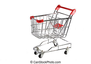 Shopping trolley - Red and silver shopping trolley on white...
