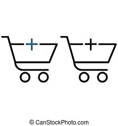 Shopping trolley with a plus icon