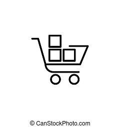Shopping trolley with boxes icon