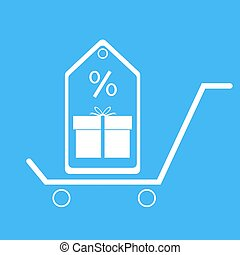 Shopping trolley with gift box