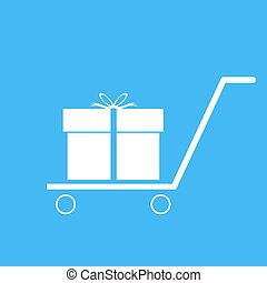 Shopping trolley with gift box.