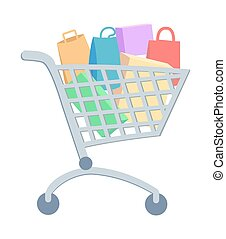 Shopping Trolley with Goods Flat Vector Icon