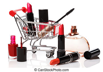 Shopping trolley with make-up products