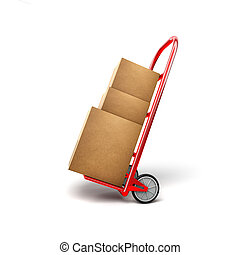 Shopping Trolley With Packages - 3D Illustration of Shopping...