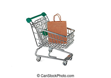 Shopping trolley with paper bags