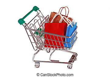 Shopping trolley with paper shopping bags