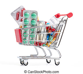 Shopping trolley with pills and medicine isolated