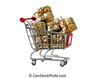 Shopping trolley with presents
