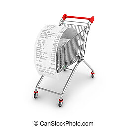 Shopping Trolley With Receipts Over White Background
