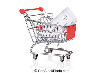 Shopping Trolley With Rolled Receipts Over White Background