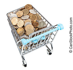 shopping trolley with russian coins isolated