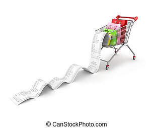 Shopping Trolley With shopping bags and long Receipts Over White Background