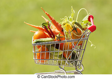 shopping trolley with vegetables