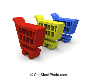 3D illustration of colorful shopping trolley symbols on white background