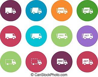 Shopping Trucks circle icons on white background.
