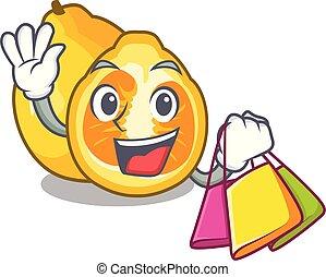Shopping ugli in the mascot fruit basket illustration vector