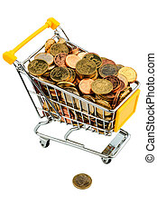 shopping vart with euro coins - a shopping cart is filled...