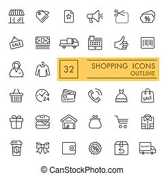 shopping vector icons set. Thin flat icons, outline design. Eps 10