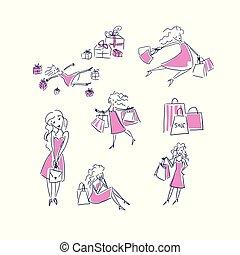 shopping vector illustration doodle girl set sketch doodle