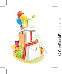 Shopping vector illustration - Shopping, vector...
