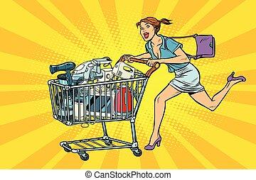 shopping, vendita, casa, carrello, carrello, appliances., negozio, donna