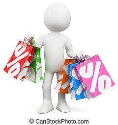 shopping, vendite, persone., 3d, bianco