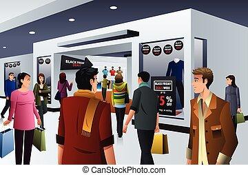 shopping, venerdì, nero, persone