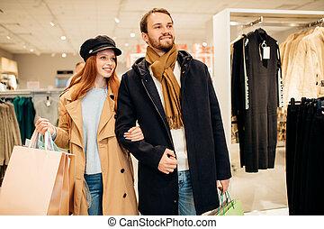 shopping, vestiti, insieme, coppia, caucasico, negozio, bello