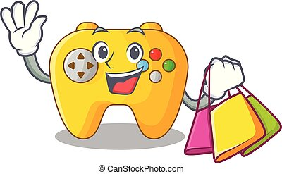 Shopping Video game controller shaped on charcter vector...