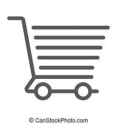 shopping vozík, řádka, ikona, e obchod, a, sklad, strava, prodávat v malém, firma, vektor, grafika, jeden, lineární, model, dále, jeden, běloba grafické pozadí, eps, 10.