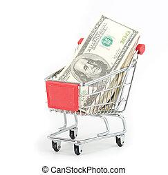 shopping vozík, a, dolar