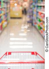 shopping vozík, do, jeden, supermarket