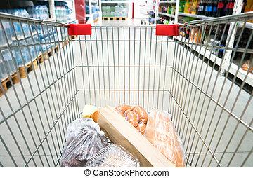 shopping vozík, do, supermarket