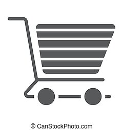 shopping vozík, glyph, ikona, e obchod, a, sklad, strava, prodávat v malém, firma, vektor, grafika, jeden, solidní, model, dále, jeden, běloba grafické pozadí, eps, 10.