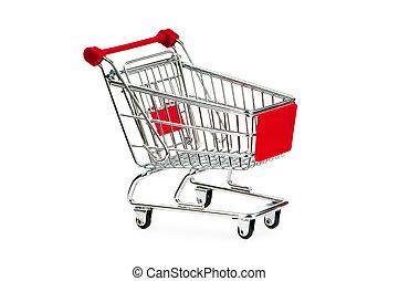 shopping vozík, na, ta, běloba grafické pozadí