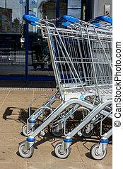 shopping vozík, před, jeden, supermarket