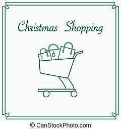 shopping vozík, s, dar, bags.