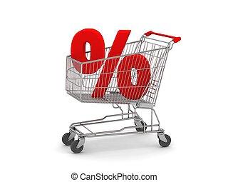 shopping vozík, s, znak procenta