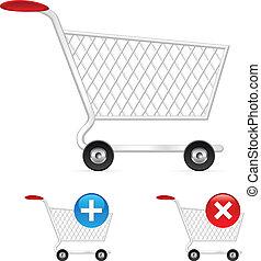 shopping, vuoto, carrello