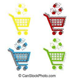 shopping wóz, ikona, z, niejaki, przerabianie surowców...