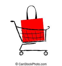 shopping wóz, torba, projektować, twój, czerwony